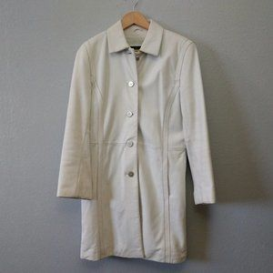 Wilson's Leather White Leather Trench Coat Jacket